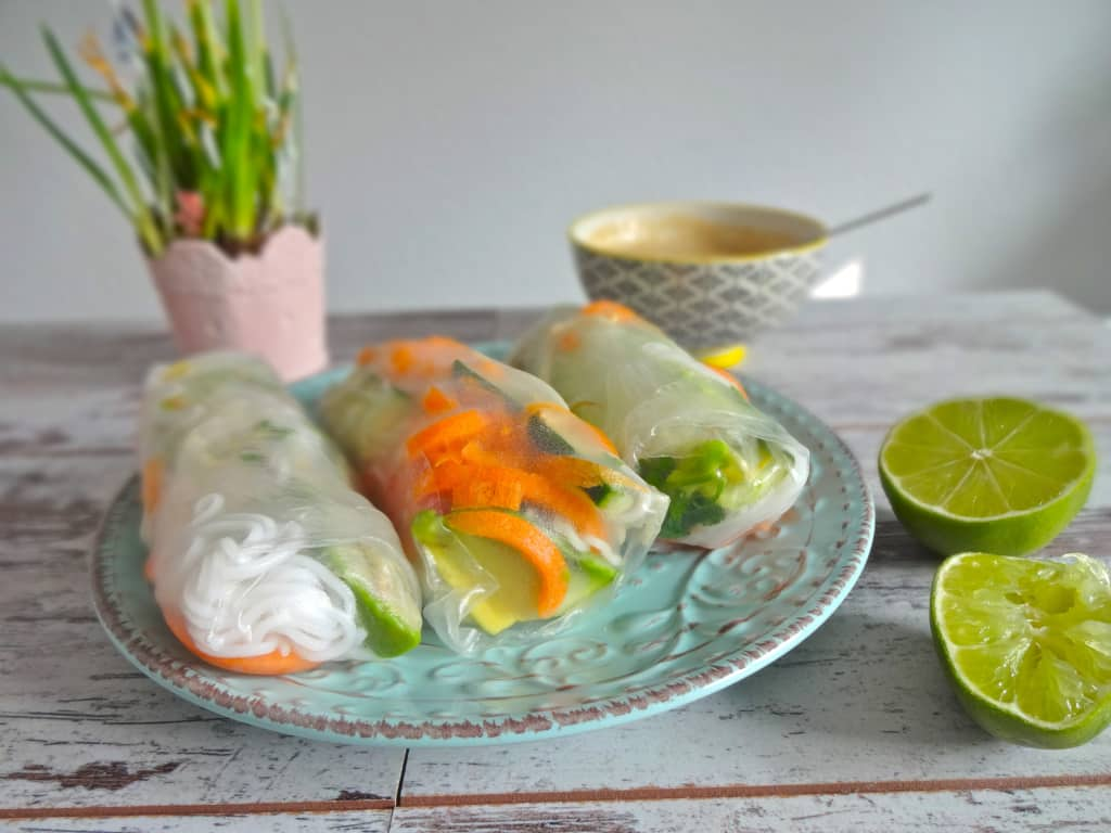 Vegetable Spring Rolls With Peanut Dipping Sauce Recipe — Dishmaps