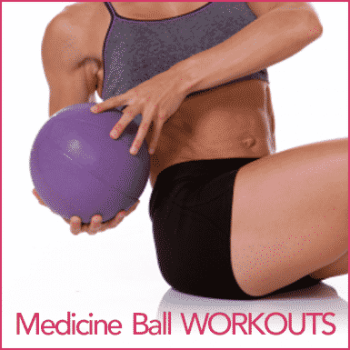 "An athletic woman doing an ab exercise using a medicine ball with the words ""Medicine Ball Workouts"""