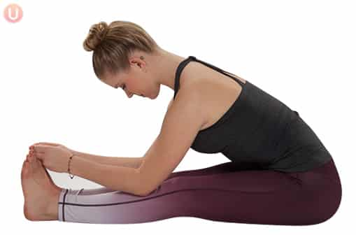 Poses like seated forward fold help with anxiety and nervous tension.