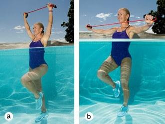 Chris Freytag demonstrating pool exercises for seniors: overhead pull knee lift