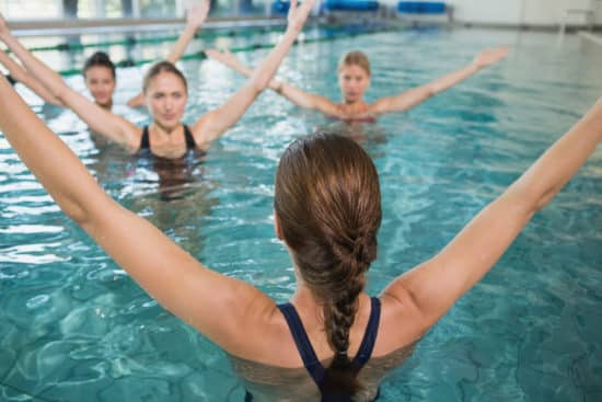 Women doing a water workout in the pool