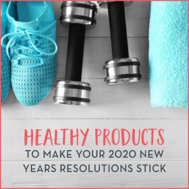 "Tennis shoes, yoga mat and dumbbells sitting on floor with text: ""Healthy Products To Make Your New Year's Resolutions Stick"""